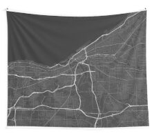 Cleveland, USA Map. (White on black) Wall Tapestry