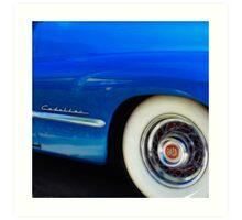 Classic Car Blue Cadillac - photography Art Print