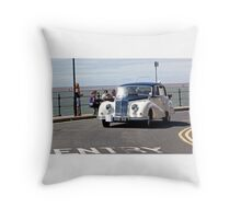 Vintage Car - White - West Kirby - July 2014 Throw Pillow