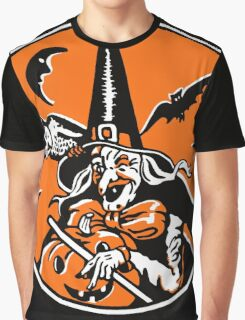 Vintage Halloween Witch and Owl Illustration Poster Graphic T-Shirt