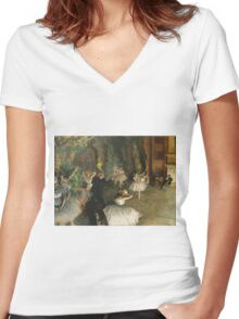 Edgar Degas - The Rehearsal Of The Ballet Onstage 1874 Women's Fitted V-Neck T-Shirt