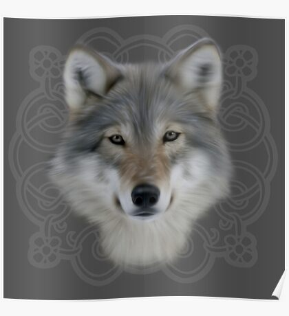Wolf and saxon motif large image Poster