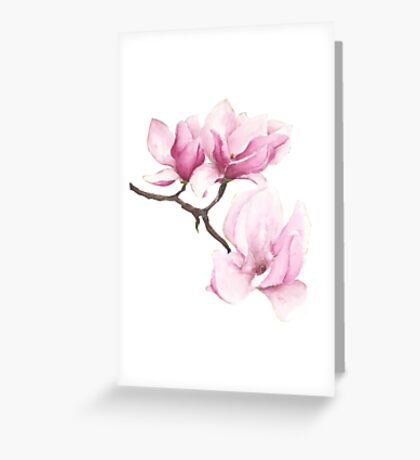 Watercolor Magnolia Blossoms Greeting Card