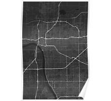 Tulsa, USA Map. (White on black) Poster