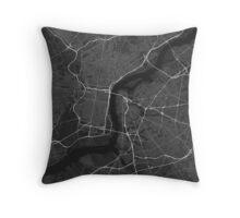 Philadelphia, USA Map. (White on black) Throw Pillow