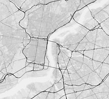 Philadelphia, USA Map. (Black on white) by Graphical-Maps
