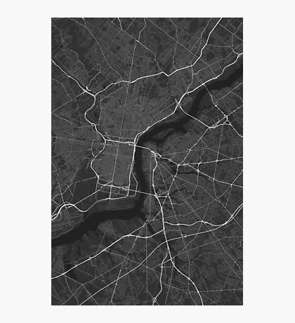 Philadelphia, USA Map. (White on black) Photographic Print