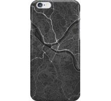 Pittsburgh, USA Map. (White on black) iPhone Case/Skin