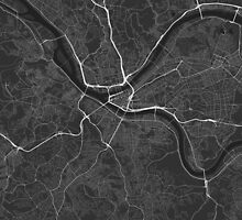 Pittsburgh, USA Map. (White on black) by Graphical-Maps