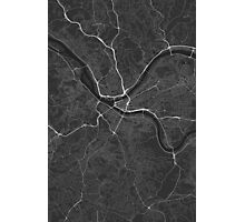 Pittsburgh, USA Map. (White on black) Photographic Print
