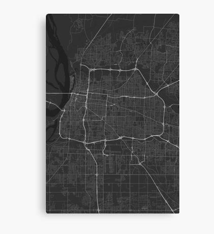 Memphis, USA Map. (White on black) Canvas Print