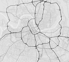 Nashville, USA Map. (Black on white) by Graphical-Maps
