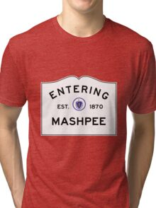Entering Mashpee - Commonwealth of Massachusetts Road Sign Tri-blend T-Shirt