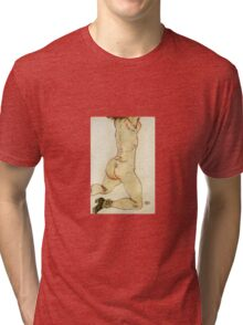Egon Schiele - Kneeling Female Nude Back View 1915 Tri-blend T-Shirt