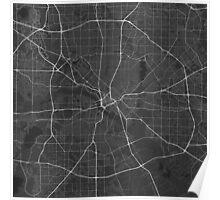 Dallas, USA Map. (White on black) Poster