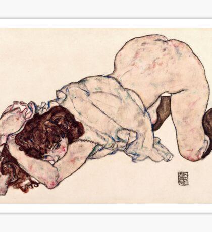 Egon Schiele - Kneeling Girl, Resting on Both Elbows (1917)  Sticker