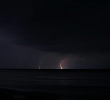 Twin lightning bolts over Lake Superior by jrier