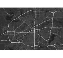 Fort Worth, USA Map. (White on black) Photographic Print