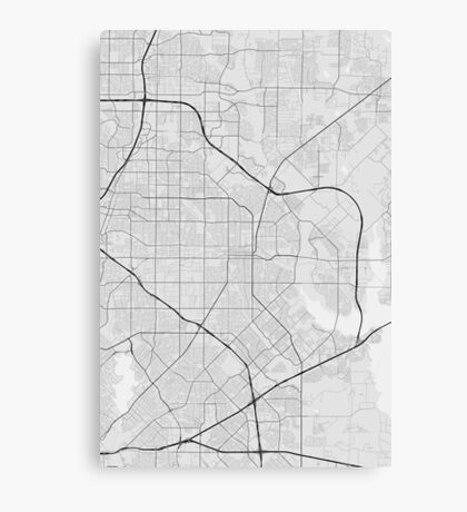 Garland, USA Map. (Black on white) Canvas Print
