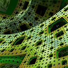 Blue and Green 3D Fractal by Angela Micheli Otwell