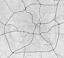 San Antonio, USA Map. (Black on white) by Graphical-Maps