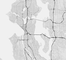 Seattle, USA Map. (Black on white) by Graphical-Maps