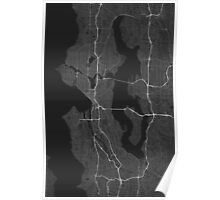 Seattle, USA Map. (White on black) Poster