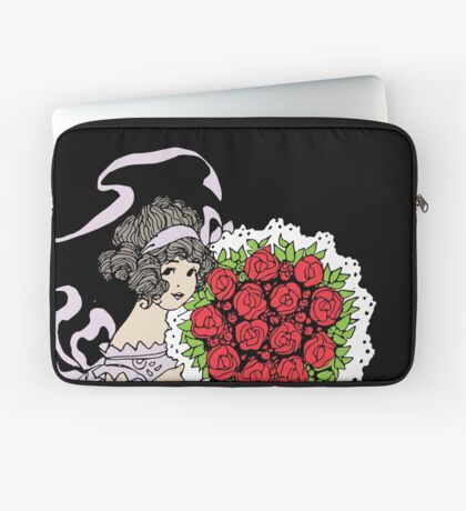 Vintage Cute Girl With Bouquet Of Roses Laptop Sleeve