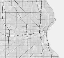 Milwaukee, USA Map. (Black on white) by Graphical-Maps