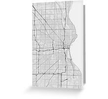 Milwaukee, USA Map. (Black on white) Greeting Card