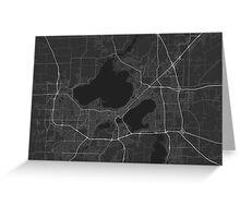 Madison, USA Map. (White on black) Greeting Card