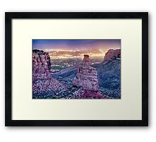 Colorado Independence Monument and City Lights Of Grand Junction Framed Print