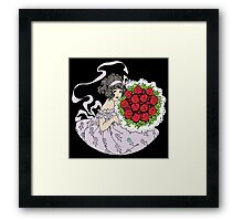 Vintage Cute Girl With Bouquet Of Roses Framed Print