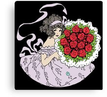 Vintage Cute Girl With Bouquet Of Roses Canvas Print