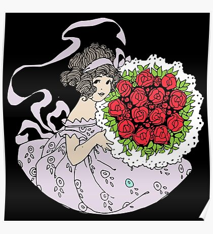 Vintage Cute Girl With Bouquet Of Roses Poster
