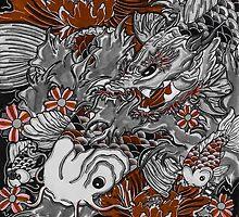 Koi fish and koi dragon by Adam  Parsons