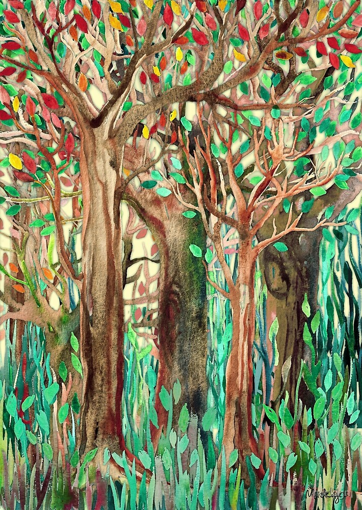 Walking through the Forest - watercolor painting collage by micklyn