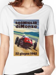 """""""MONZA GRAND PRIX"""" Vintage Auto Racing Print Women's Relaxed Fit T-Shirt"""