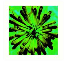 Green + Black Painted Flower Art Print