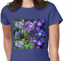 Floral Collage Featuring Fragrant Floribunda Roses Womens Fitted T-Shirt