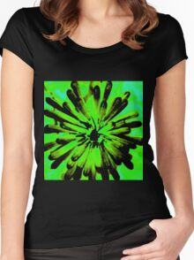 Green + Black Painted Flower Women's Fitted Scoop T-Shirt
