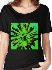 Green + Black Painted Flower Women's Relaxed Fit T-Shirt