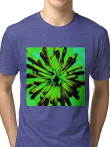 Green + Black Painted Flower Tri-blend T-Shirt