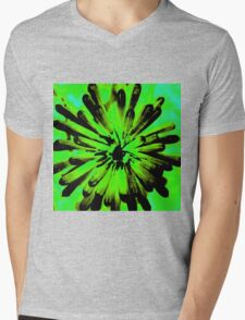 Green + Black Painted Flower Mens V-Neck T-Shirt