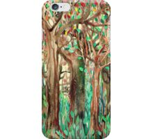 Walking through the Forest - watercolor painting collage iPhone Case/Skin