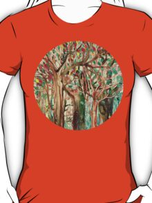 Walking through the Forest - watercolor painting collage T-Shirt