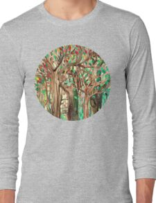 Walking through the Forest - watercolor painting collage Long Sleeve T-Shirt