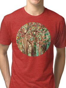Walking through the Forest - watercolor painting collage Tri-blend T-Shirt