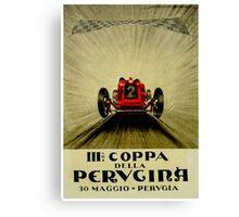"""""""PERVGINA GRAND PRIX"""" Vintage Auto Racing Print Canvas Print"""