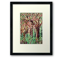 Lost in the Forest - watercolor painting collage Framed Print